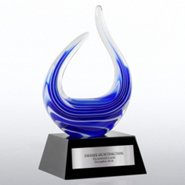 Art Glass Blue Flame Trophy